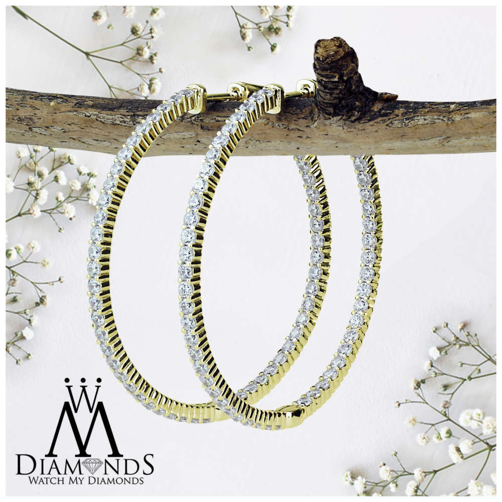 Details About G Setting Large Diamond Hoop Earrings Of 3 Ctw Set In 14kt Yellow Gold