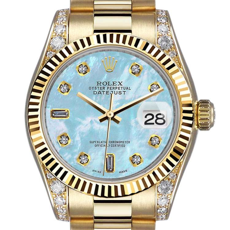 Rolex 31mm Presidential 18kt Gold Baby Blue Mop Mother Of