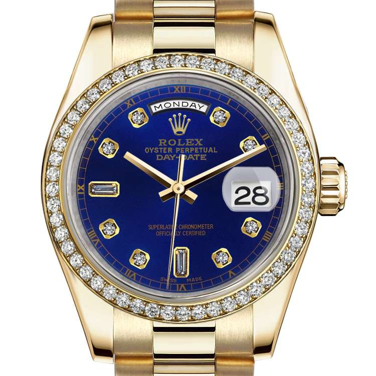 Rolex 36mm Presidential 18kt Gold Blue Color Dial with 8 + 2 Diamond Accent  Diamond Beze 18078