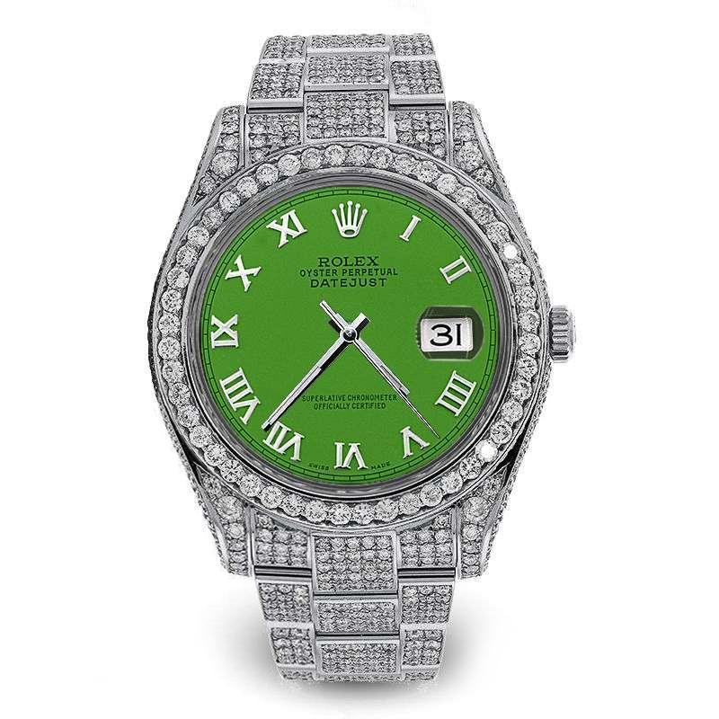 Rolex Mens 41mm Datejust II Stainless Steel Green Color Roman Numeral Dial  iced out full Bracelet