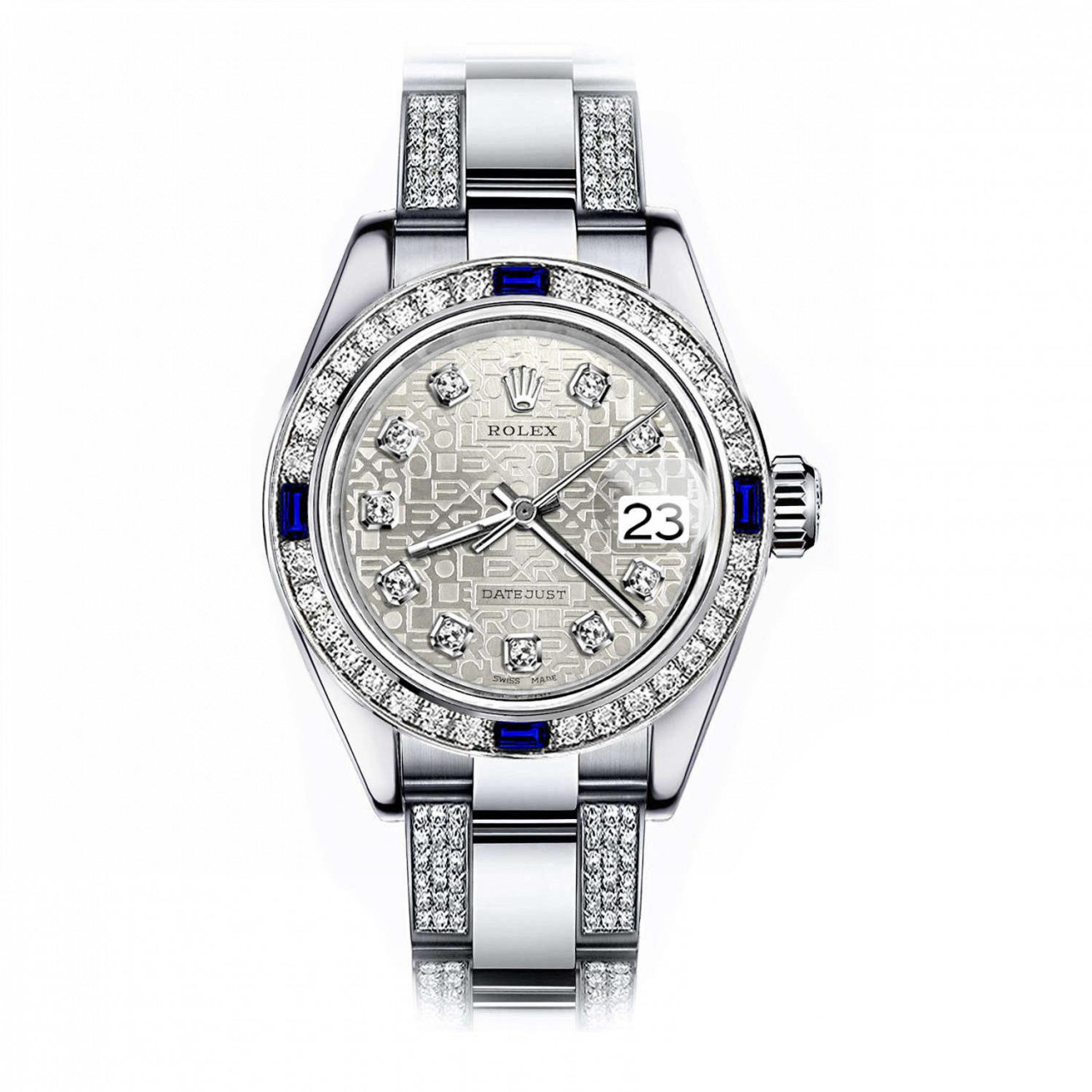 Women\u0027s Customized Rolex watch 31mm Datejust Stainless Steel Diamond Dial  with Silver Jubilee Metal Plate