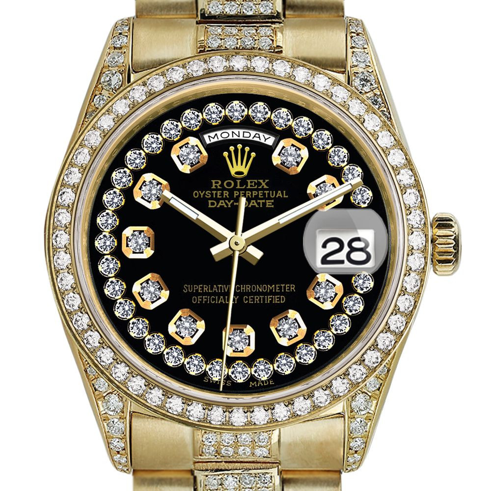 Rolex Presidential 36mm Diamond Black String Diamond Dial