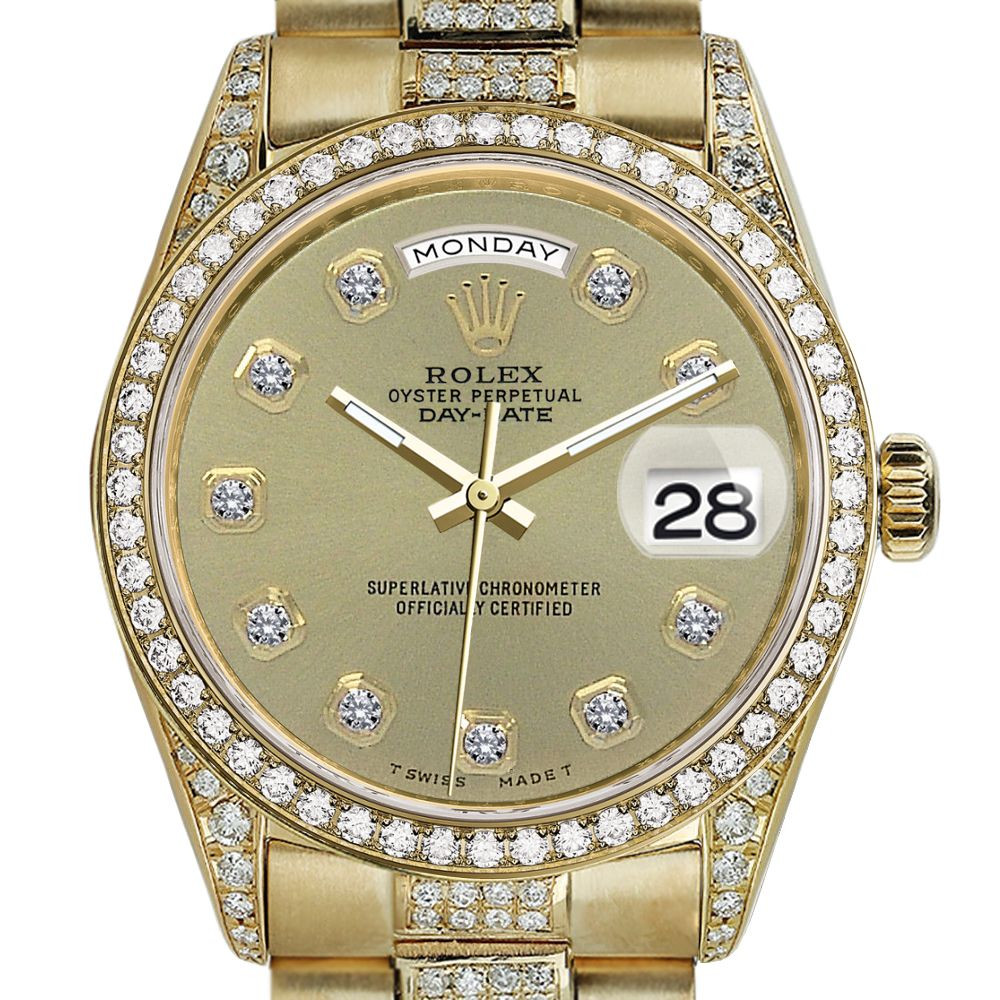 Rolex Presidential 36mm Diamond Champagne Gold Diamond Dial Diamond