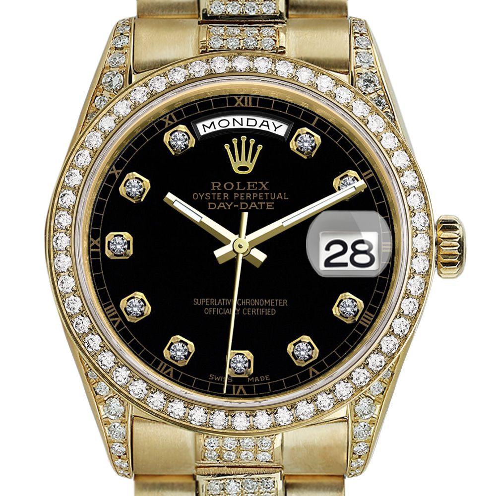 Rolex Presidential 36mm Diamond Black Color Diamond Dial Rt Diamond 18kt Yellow Gold Watch