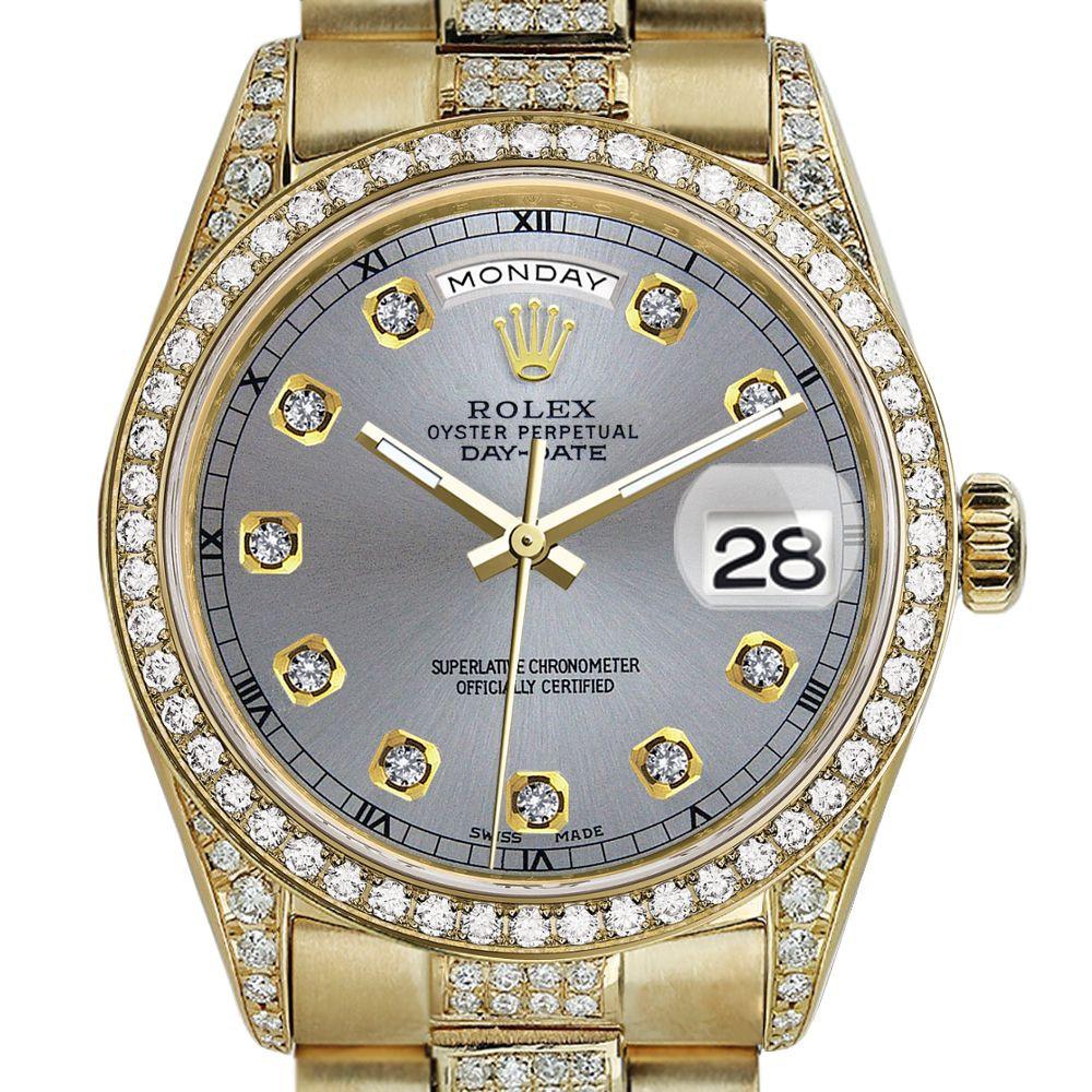 Rolex Presidential 36mm Diamond Slate Grey Diamond Dial Rt Diamond 18kt Yellow Gold Watch
