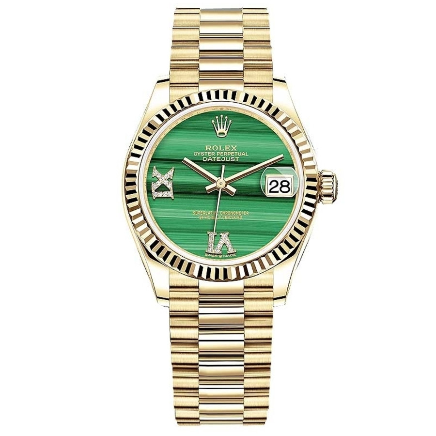 Rolex Datejust 31mm 278278 Yellow Gold Watch Green Malachite Dial