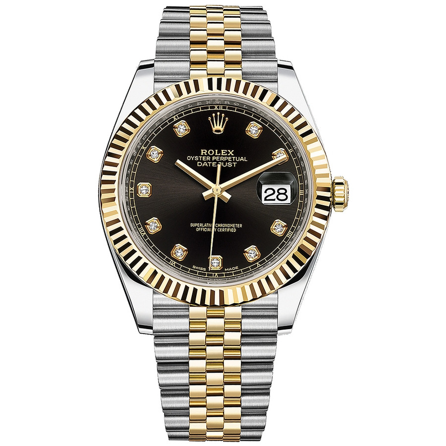 Rolex Datejust 41mm 126333 Steel \u0026 Yellow Gold Watch Black Diamond Dial