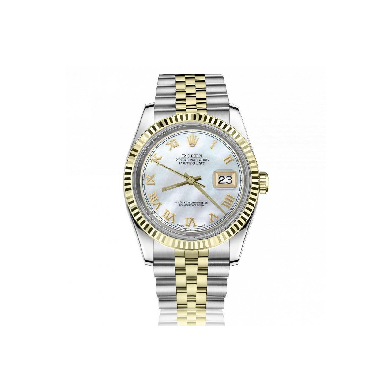 Ladies Vintage Rolex 26mm Datejust Two Tone White MOP Mother Of Pearl Roman  Numeral Dia
