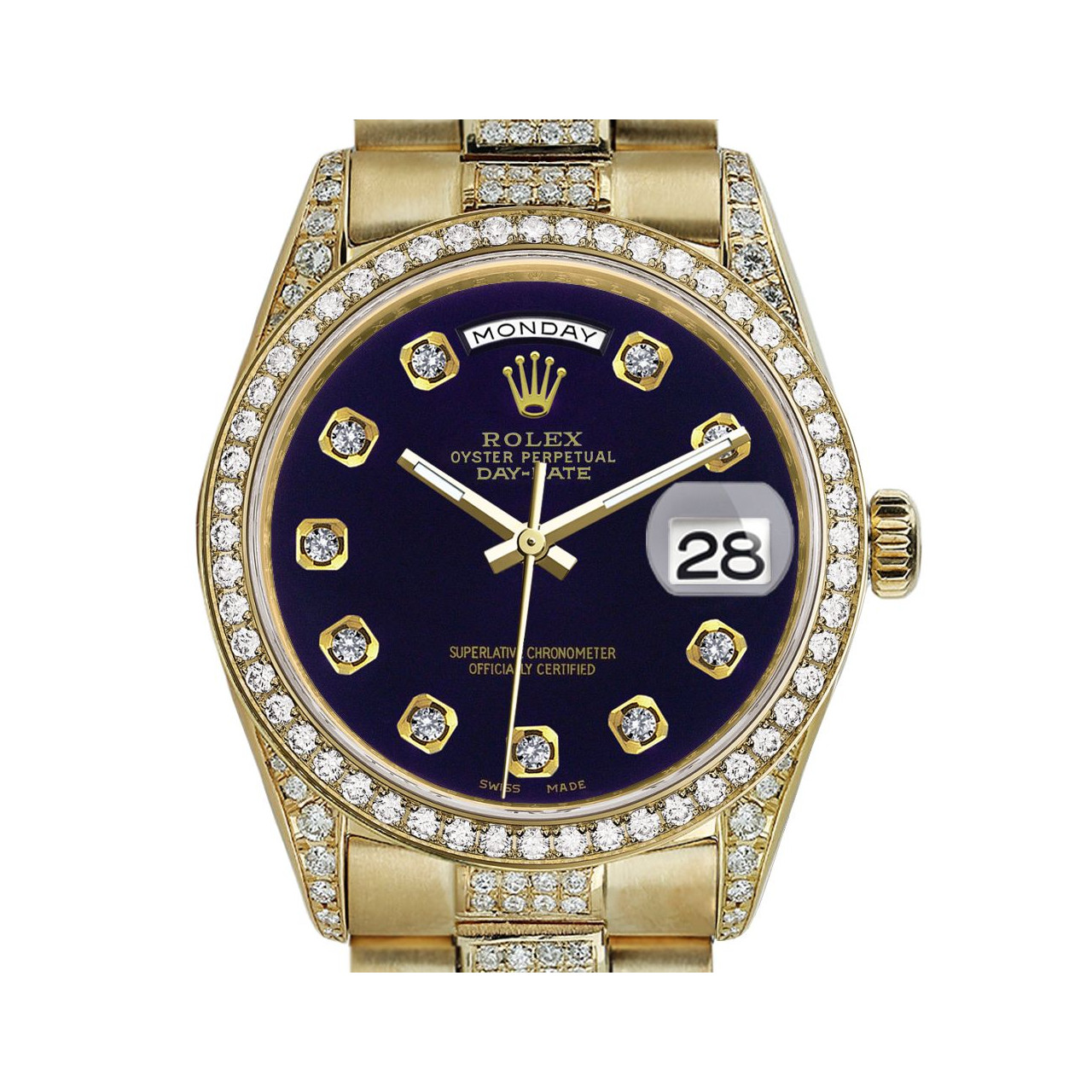 Rolex Presidential 36mm Diamond Purple Color Dial With Diamond Accent Diamond 18kt Yellow Gold Watch