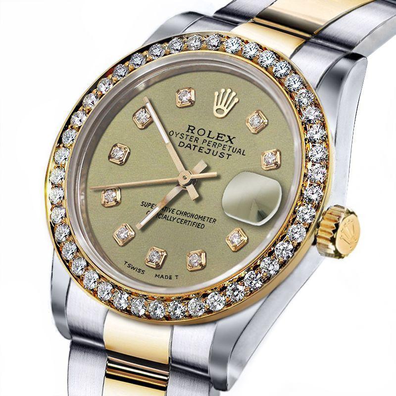 Men S Rolex 36mm Datejust Two Tone Champagne Color Diamond