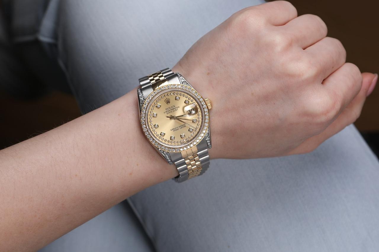 Rolex Large Size Datejust Champagne String Diamond Dial Automatic 36mm  Diamond Wrist Watch