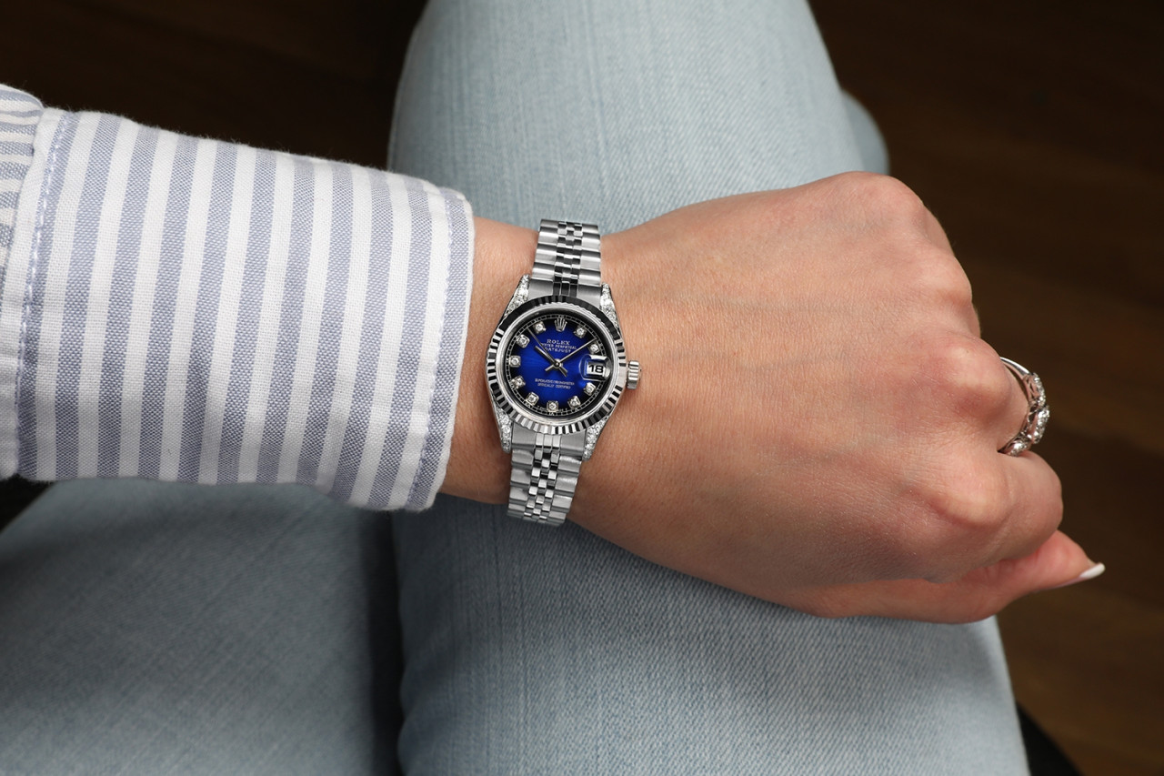 Ladies 26mm Rolex Datejust SS Blue Vignette Color Dial Classic + Lugs RT  Wrist Watch