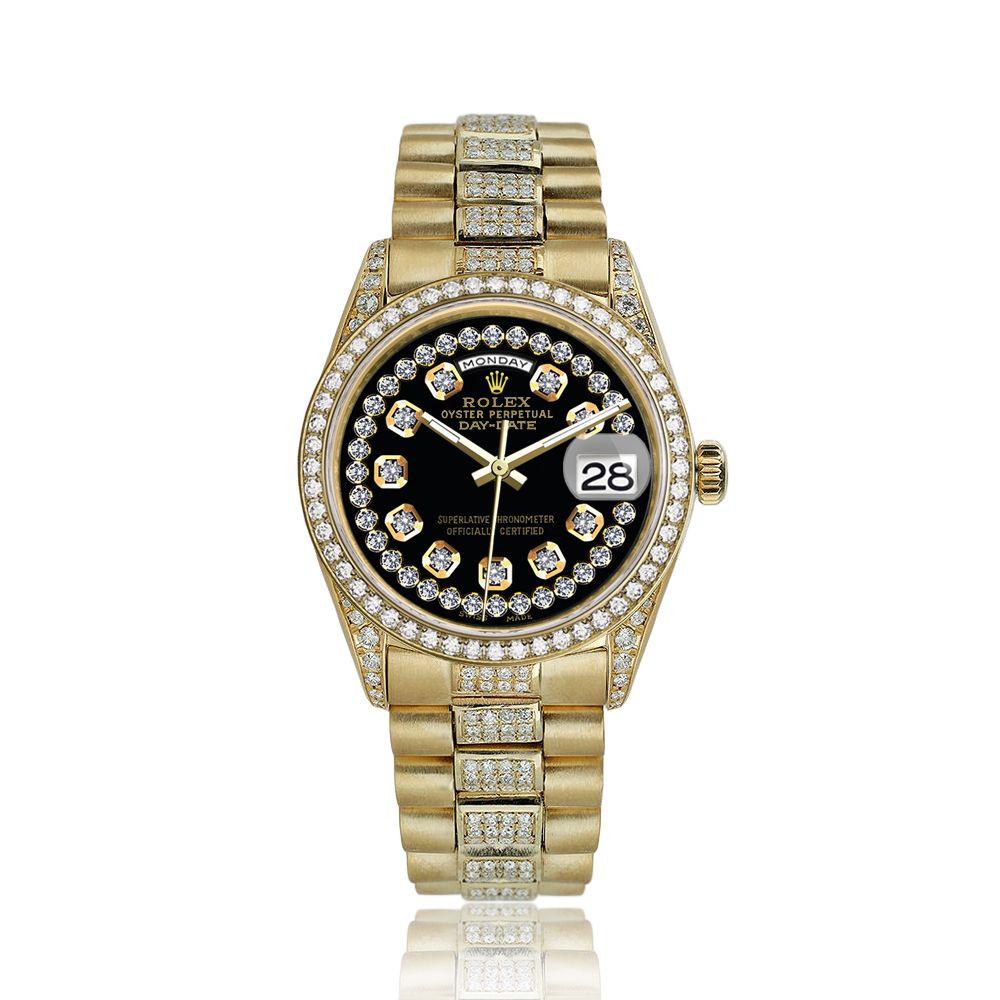 Rolex Presidential 36mm Diamond Black String Diamond Dial