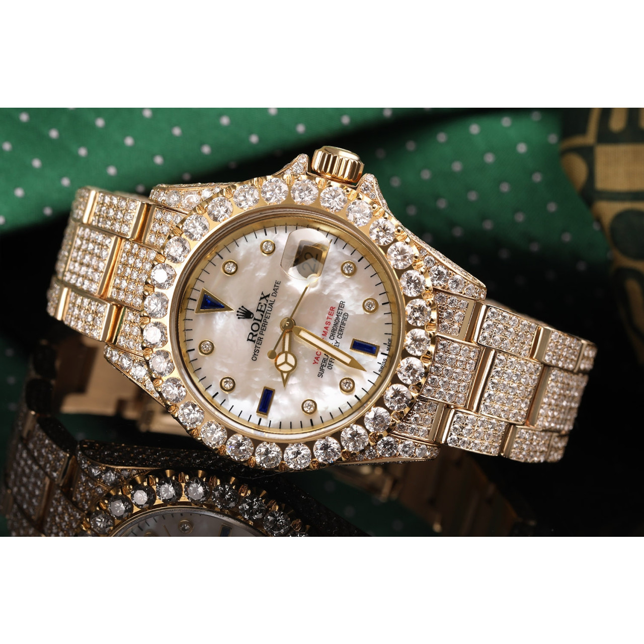 Rolex Yacht Master 40mm White Mother Of Pearl Diamond Dial